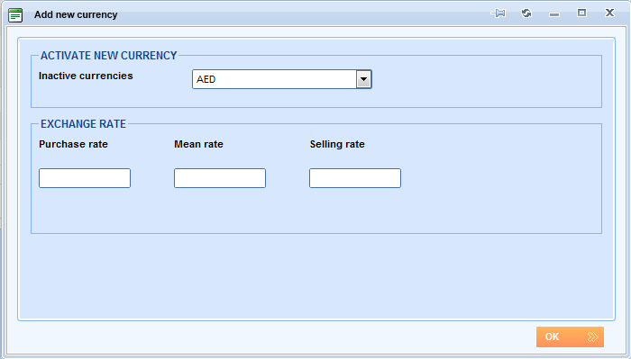 Lemax Software - Add new currency window
