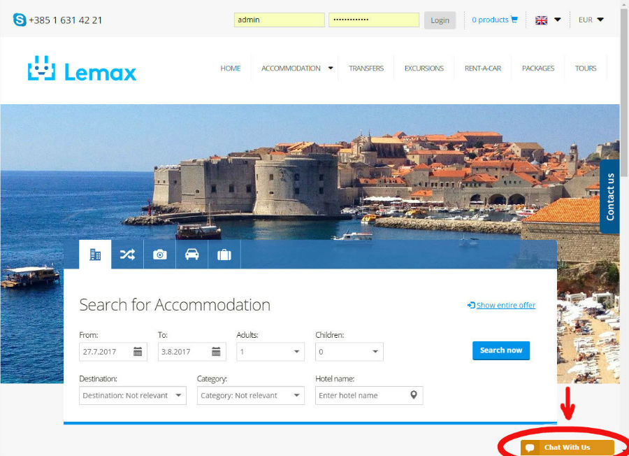 Live chat button example from our Lemax B2C demo website